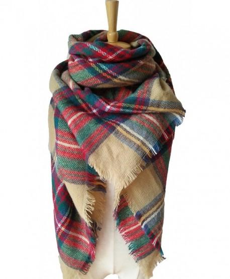 Mother's Gift Plaid Blanket Scarf for Women Wrap Shawl Winter Tassels Tartan Large Blanket Scarves - Khaki - CU187KEO0KO