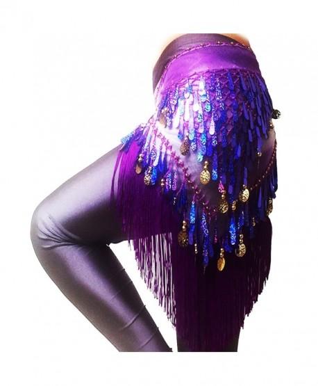 LAFIZZLE 8 Color Belly Dancing Belt Colorful Waist Chain Belly Dance Hip Scarf Belt - Purple - C917AAGOKLD