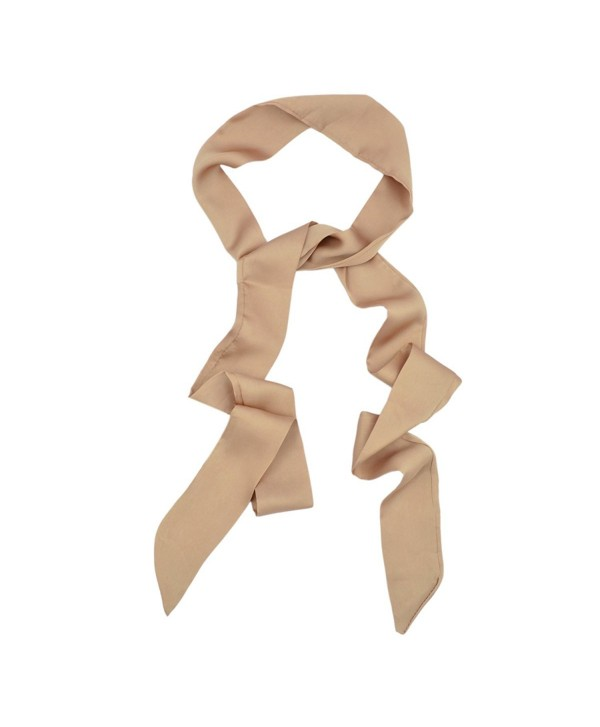 IvyFlair Long Skinny Tie Neck Scarf Choker - Different Colors - Camel - CL12O7MLRPW