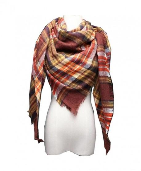 Roundeel Plaid Blanket Scarf Warm Cozy Tartan Wrap Shawl Winter Scarves for Women - B - CV187CSO69T
