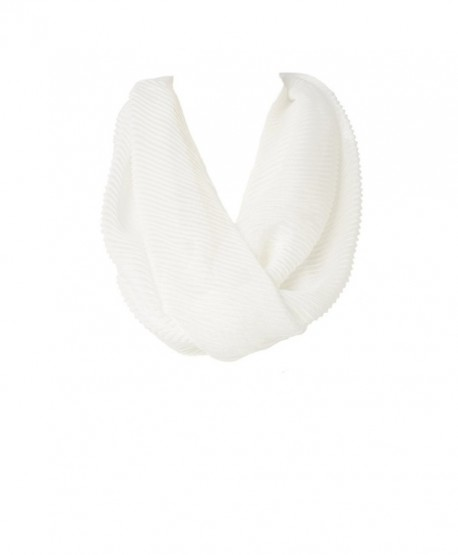 Women's New Light Weight Silky Soft Stole Fashion Infinity Loop Scarf - White - CV17YERCEDG