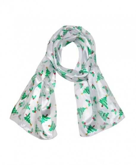 CTM Women's Christmas Tree Holiday Scarf - White - CE11QS5APA1