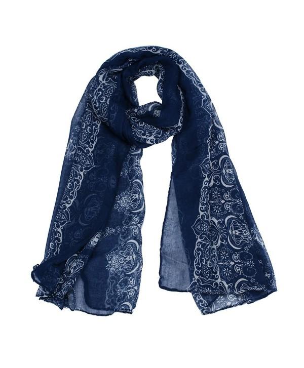 Sandistore Women Lady Classical Print Scarf Scarves Sun Protection Gauze Kerchief - Navy - CP1279M12OB