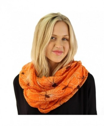 Halloween Scary Spider Web Goth Soft Light Loop Circle Infinity Scarf Wrap - Orange - C512MYJZWNB