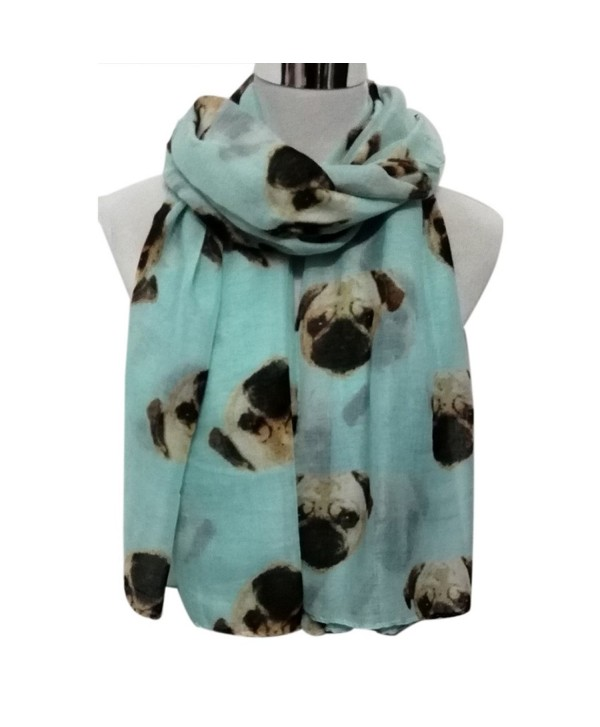 Wensltd Clearance Women Cute Pug Dog Print Scarf Wraps Shawl Scarf - Light Blue - CY129UWDDLD