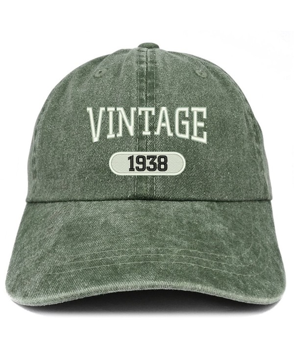 Trendy Apparel Shop Vintage 1938 Embroidered 80th Birthday Soft Crown Washed Cotton Cap - Dark Green - CD180WUCW2X