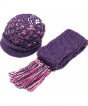 2014 New Winter Warm Women Wool Hat/Scarf Set Women Knitted Hats Scarf Red - Purple - C911Q3F733P