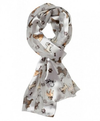Plum Feathers Various Cute Wildlife & Pet Print Silky Satin Scarf - Silver With Puppies - CO11T6HM1PR