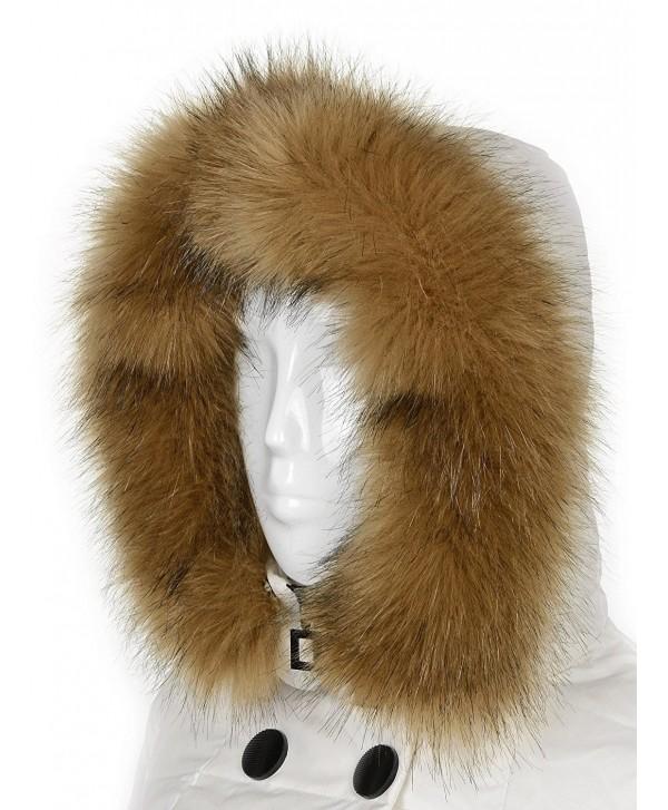 Futrzane Trim Hood Faux Fake Fur Hood Winter for Jacket Ski Collar Wrap Shawl - Beige - C7128QBMEN7