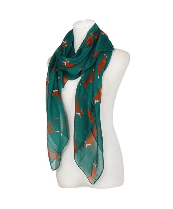 LEERYA Lady Womens Long Cute Fox Print Scarf Wraps Shawl Soft Scarves - Light Blue - CB12LW7QWNP