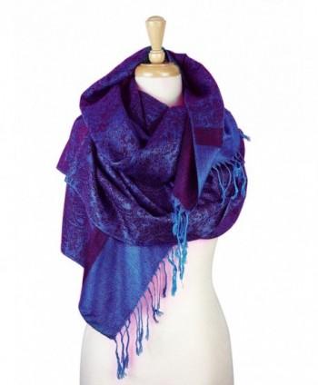 Paskmlna Paisley Jacquard Pashmina Shawl Wrap Scarf Stole - Purple018123 - CT1274IPO3P