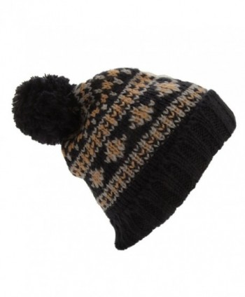 Mens Brushed Fairisle Pattern Winter Bobble Hat - Dark Grey/Navy - CR12OBMEKVE