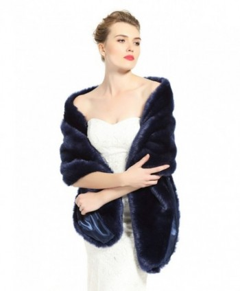 BEAUTELICATE Women's Faux Fur Shawl Stoles Wrap for Bridal/Wedding/Party-S62(12 Colors) - Navy Blue - CQ12NRW6UJO