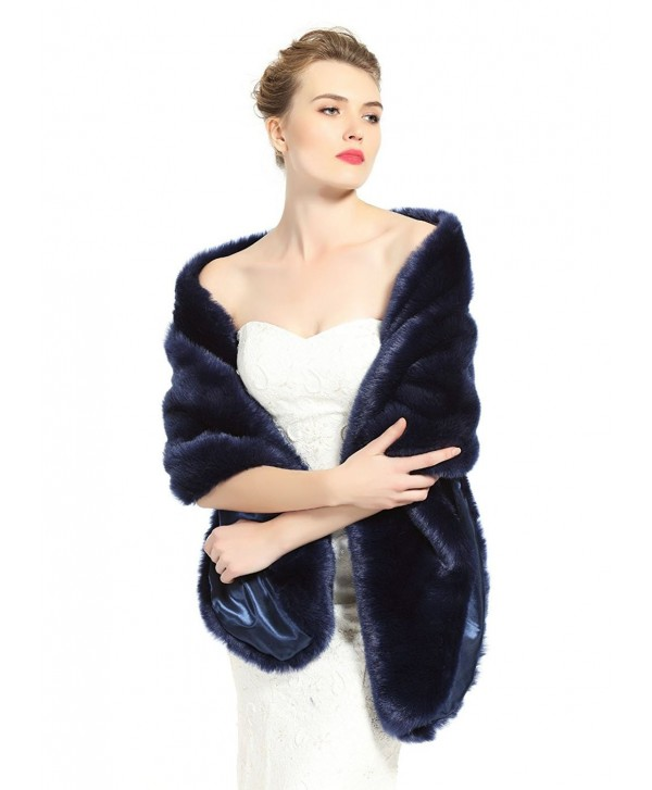BEAUTELICATE Women's Faux Fur Shawl Stoles Wrap for Bridal/Wedding/Party-S62(12 Colors) - Navy Blue - CQ12NRW6UJO