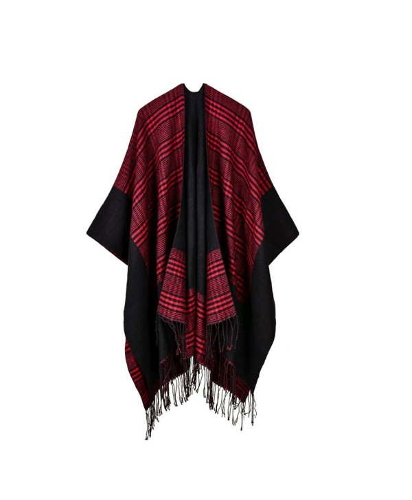 Bakerdani Women Fashionable Retro Style Tassel Poncho Shawl Cape Cardigans - Red - CS187IT2980