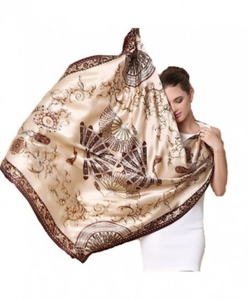 SILKENWAVE: Ladies Luxury Large Square Silk Scarf (100%) Fashion Pashmina Hijab Hair Headband - 14 - C4184K47EML