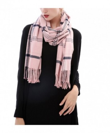 Aolige Super Soft Cashmere Blanket Winter Scarf Classic Lattice Warm Shawl for Women - Pink - CV186C6QU66