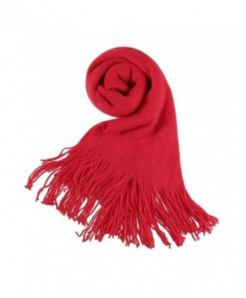 Allegra K Unisex Rectangle Shape Winter Warm Long Knitted Scarf - Red-2 - CV11OUNQITR
