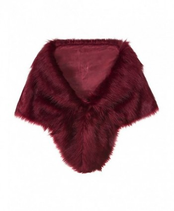 "Vijiv Women's Faux Fur Collar Shawl Wraps Shrug For 1920s Bridal Wedding Evening Dresses 57"" - Wine Red - C5188N05ASR"