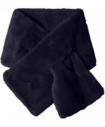 La Fiorentina Women's Plush Collar Scarf with Pull-Through - Navy - CD12E1EBK1F