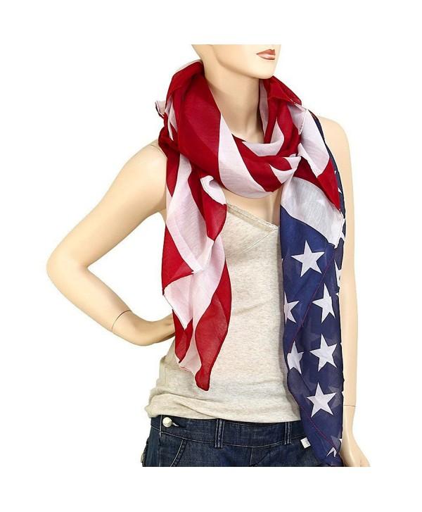 """Falari Large USA American Flag Scarf Beach Wrap Soft Lightweight 72"""" X 36"""" - CZ11NF1BWW3"""