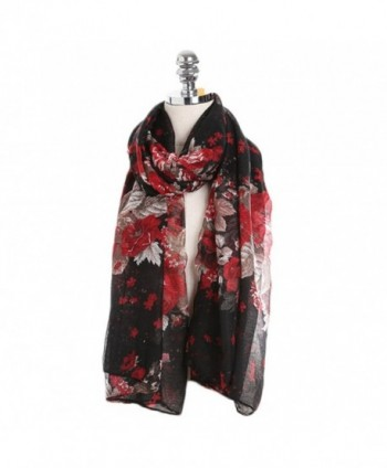 Sundayrose Foral Scarves Shawl Womens Peony Flower Summer Beach Wrap - Black Red - C3183M3SU7M