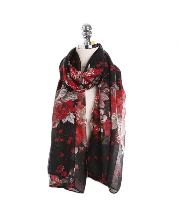 Sundayrose Foral Scarves Shawl Womens Peony Flower Summer Beach Wrap - Black Red - C3183M3SU7M