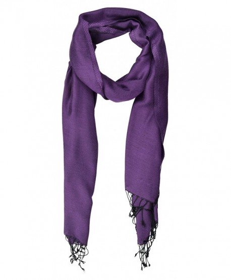 """Pashmina Double Sided Two Tone Shawl Scarf Wrap from India 80"""" x 27"""" - Purple - C917YK4O4KH"""