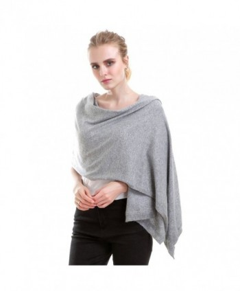 Vemolla Women Knitted Wool Solid Long Shawl Scarf Warp - Soft Grey - CY187R8RLKH
