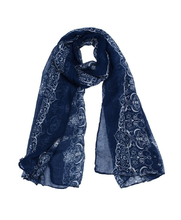 Lookatool Women Lady Classical Print Scarf Scarves Sun Protection Gauze Kerchief - Navy - C2127N0GZ3R