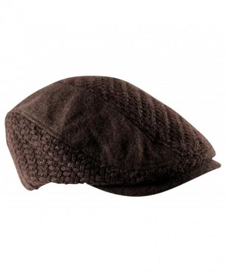 Itzu Mens Waffle Knit Woven Flat Cap Hat Newsboy Gatsby Baker Boy Wool Mix - Brown - CU12O3OZ9U7