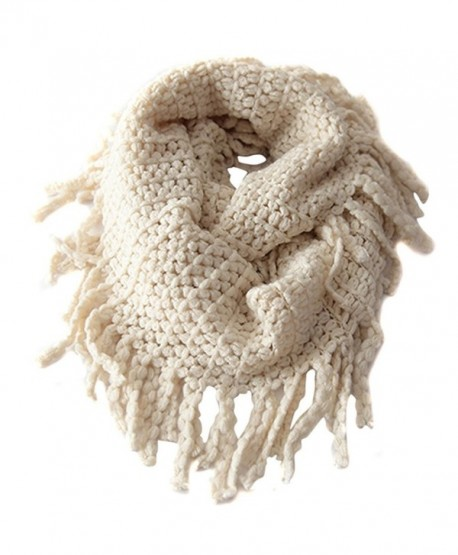 Wowlife Unisex Baby Kids Warmer Thick Knit Wool Soft Infinity Scarf Shawl - Beige - CT11QV1YOND