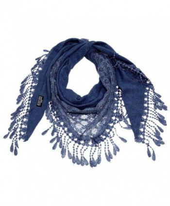 """Falari Women Lace Scarf Triangle With Fringes Polyester 70"""" x 22"""" - Navy - CT17YH49N08"""