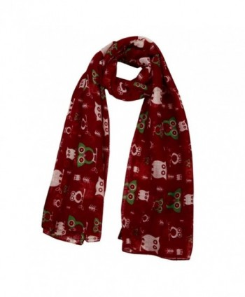 Kanzd Women Fashion Christmas Printed Santa Clus Owl Silk Square Scarf Shawl Soft Scarves Xmas Gift - J - CX188903K3E