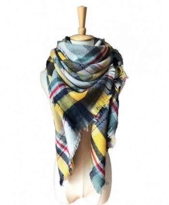 ZOMOY Women's Scarf Scarves Tartan Plaid Blanket Long Shawl Big Grid Winter Warm - Green-yellow - CI185A79WK8