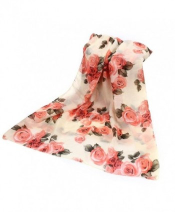 DZT1968 Autumn Winter Women Floral Long Soft Chiffon Shawl Scarf Pashmina (Beige) - CV125G4RQX5