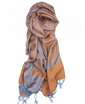 Achillea Two Tone Vintage Jacquard Paisley Pashmina Shawl Wrap Scarf - Orange Light Blue - C8185LLYY7G