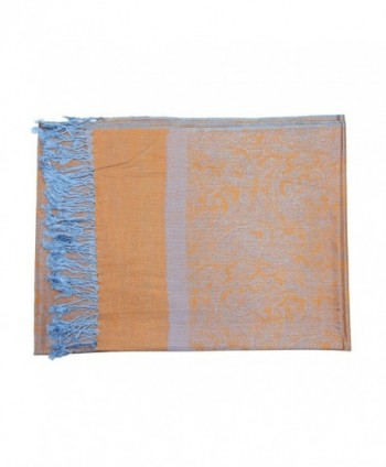 d534ba27007 Two Tone Vintage Jacquard Paisley Pashmina Shawl Wrap Scarf - Orange Light  Blue - C8185LLYY7G