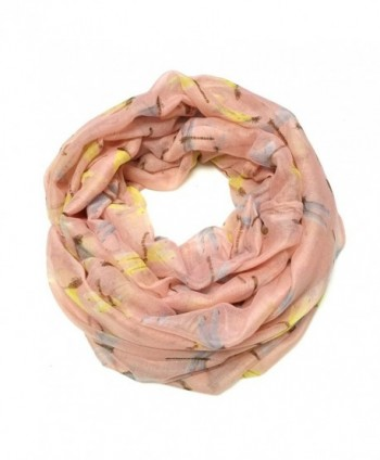ALLYDREW Lightweight Dragonfly Infinity Circle Scarf - Light Peach - CJ11VNBR84D