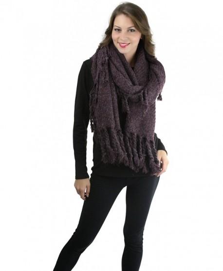 ToBeInStyle Women's Chunky Oversized Tasseled Blanket Scarf - Purple - CY12NUJUN7M