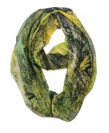 Floral Print Lightweight Spring Infinity Loop Scarf - Abstract Yellow - CA12B2FCVAJ