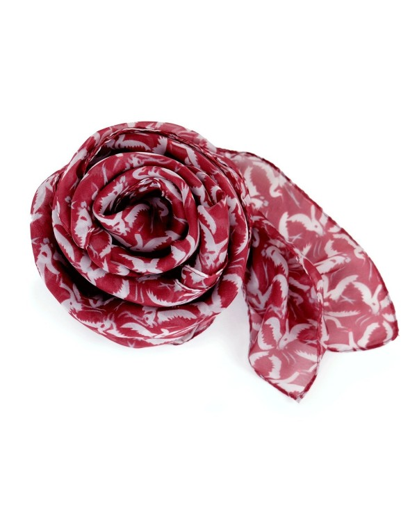 Scarfs for Women Lightweight Large Silky Feel Smooth Oblong shawl by MIMOSITO - Red Birds - C9186DY6NGM
