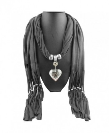 Shineweb Women Infinity Fringe Scarf Heart Charm Jewelry Pendant Scarf Necklace - Grey - CH12MYTGR86