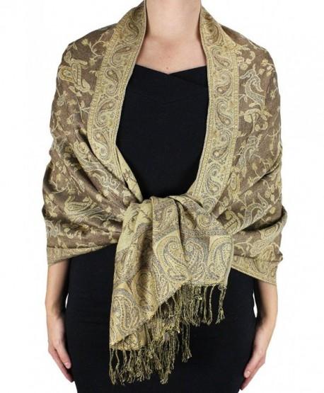 28113bd00 Dseason Women's Elegant Reversible Floral Paisley Pashmina Shawl Wrap Scarf  Black and White - Tan -