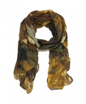 Bucasi Abstract Modern Marble Print Clara Scarf in Multi Black Brown and Olive - CC11IBVV3HL
