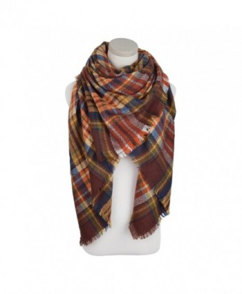 Premium Winter Large Soft Knit Plaid Checked Square Blanket Scarf Shawl Wrap - Coffee - C812NAJUI1V