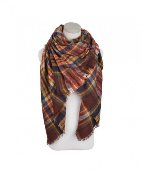 Premium Winter Large Soft Knit Plaid Checked Square Blanket Scarf Shawl Wrap - Coffee - C812NAJUI1V