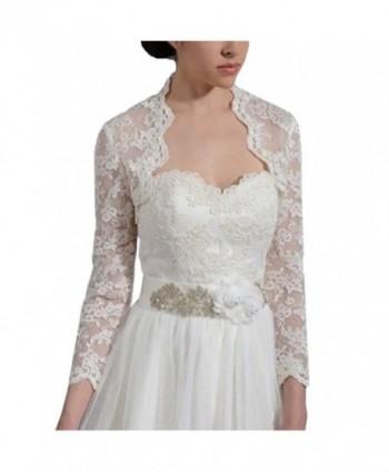 Amy's Accessory Women's Applique Backless Wedding Bridal Jacket Wraps C59Amy - Ivory - C412K87XK0D