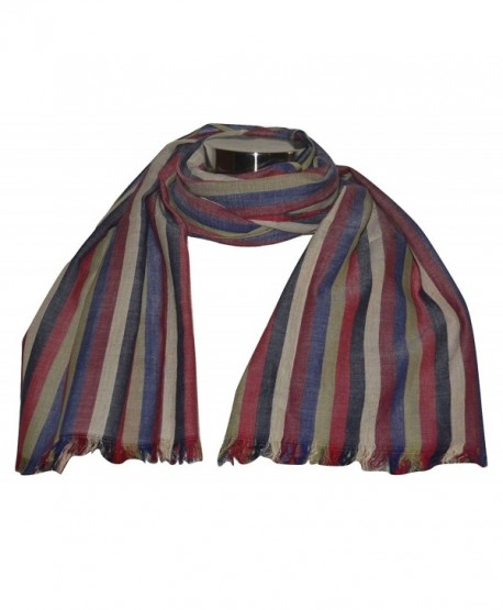 Hand Spun (KHADI)- Handwoven 100% Pure Cotton Fabric Striped Scarf- Wrap. X1551 - CP17Z5DSYGL