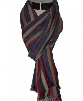 KHADI Handwoven Cotton Fabric Striped in Fashion Scarves